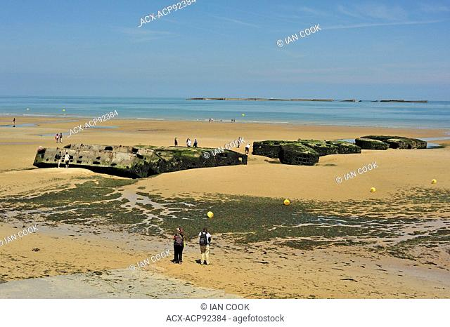 remains of Mulberry Artificial Harbour from D-Day invasion, Gold Beach, Arromanches-les-Bains, Calvados Department, Normandy, France
