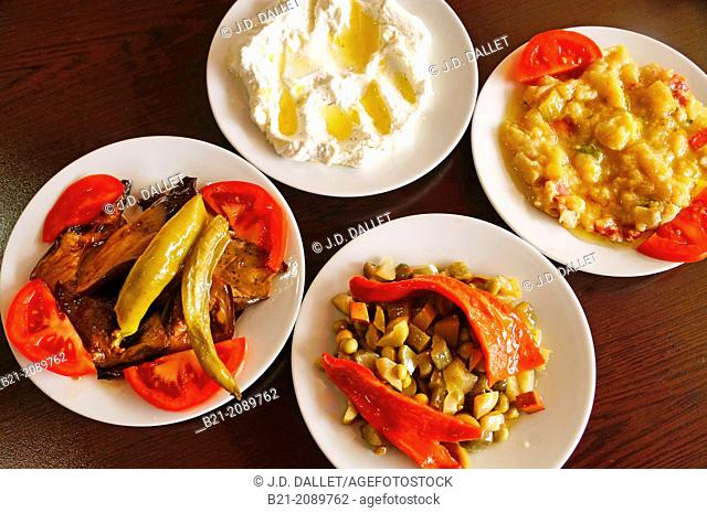 Salads: fried eggplants, yogurt and cucumber, vegetable mixed, and eggplant salad, Turkey