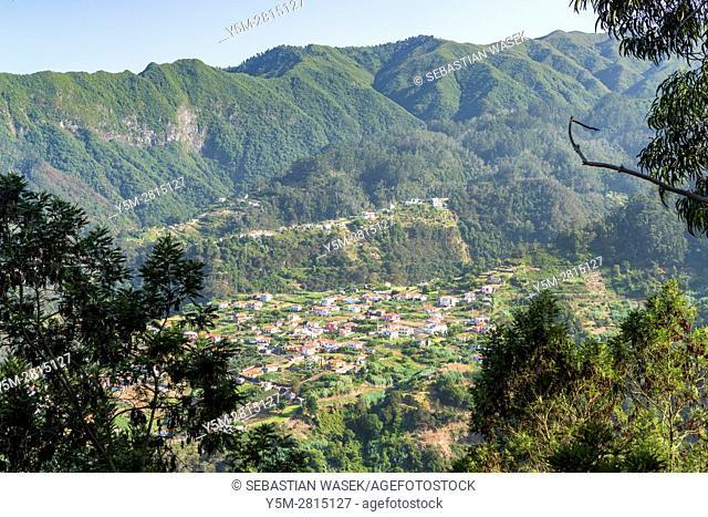 View over Sao Roque do Faial seen from Vista sobre Faja da Murta e Cruzinhas, Madeira, Portugal