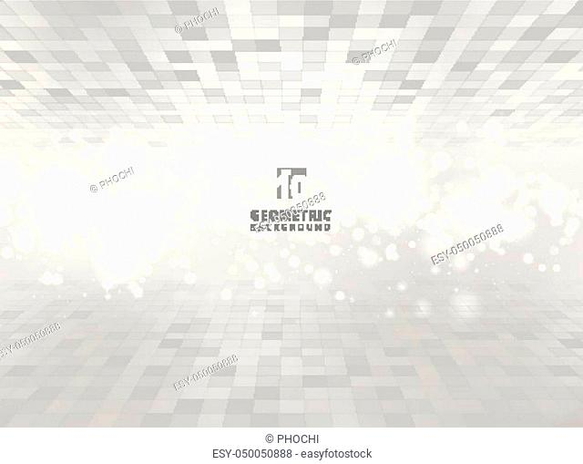 Abstract squares geometric gray and white perspective background with blurred soft focus bokeh. Pixel, Grid, Mosaic. Vector illustration
