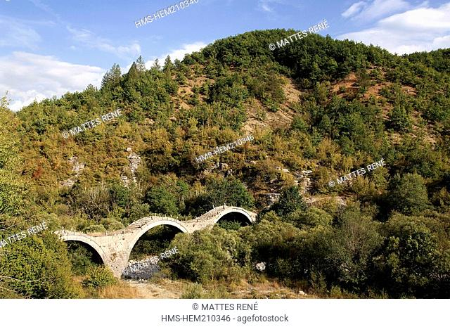 Greece, Epirus, Zagoria area, bridge of Kipi