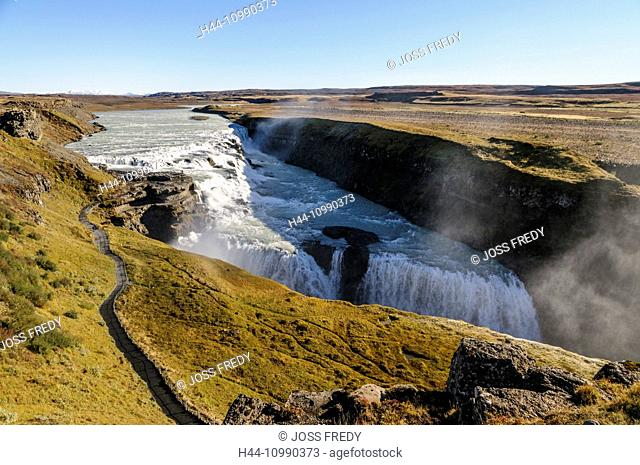 Waterfall Gullfoss and river Hvita in southwest Iceland