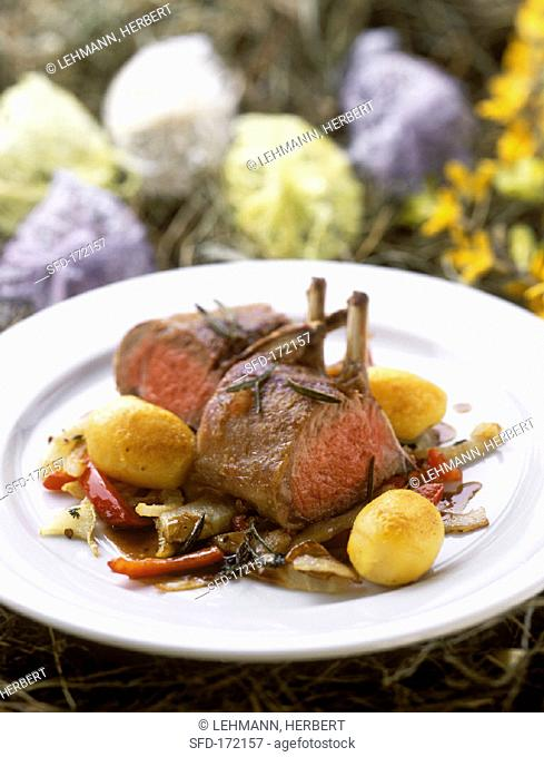 Lamb chops with vegetables and potatoes