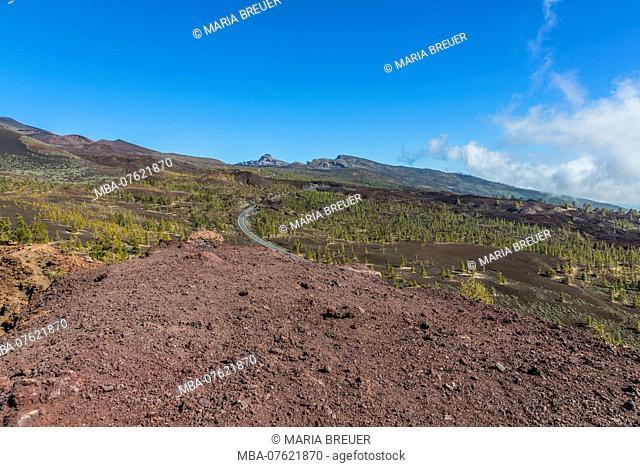 Lava landscape, view from the volcano Samara, Las Canadas, UNESCO World Heritage - natural site Teide National Park, Tenerife, Canary Islands, Spain, Europe