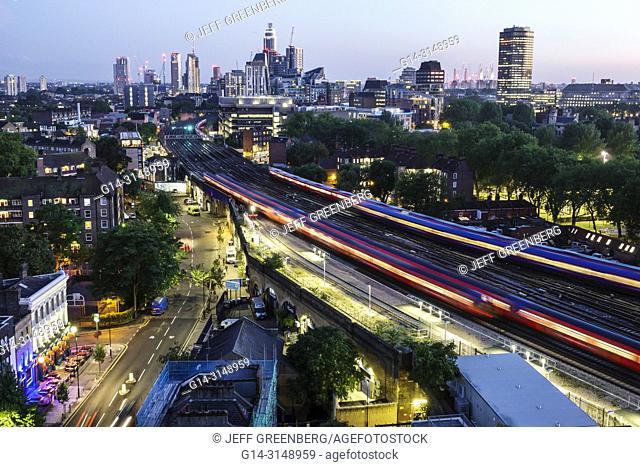 United Kingdom Great Britain England, London, South Bank, Lambeth North Station, city skyline, night nightlife dusk, buildings, rooftops, overhead view
