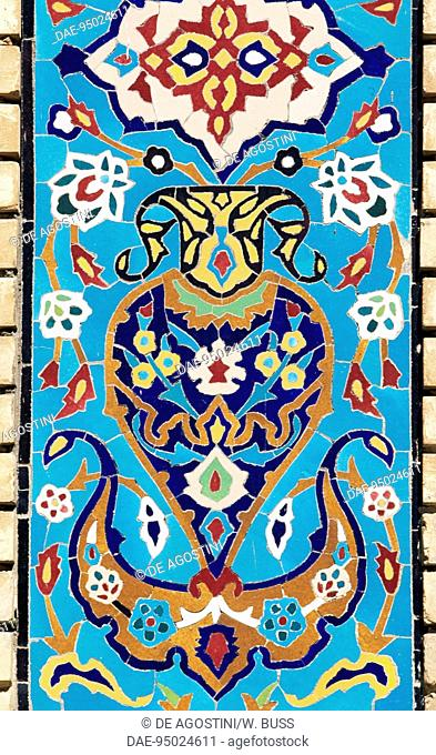 Decorative polychrome stones, Shah Nematollah Vali Shrine (15th-17th century), Mahan, Iran