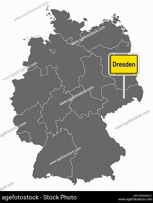 Landkarte von Deutschland mit Ortsschild von Dresden - Map of Germany with road sign of Dresden