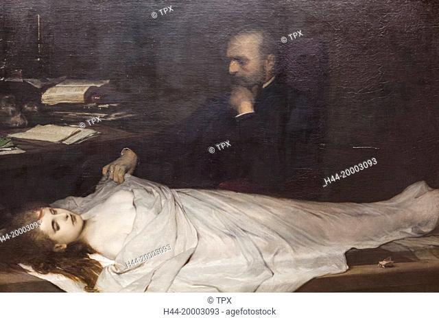 Germany, Bavaria, Munich, The New Pinakothek Museum (Neue Pinakothek), Painting titled The Anatomist (Der Anatom) by Gabriel von Max dated 1869