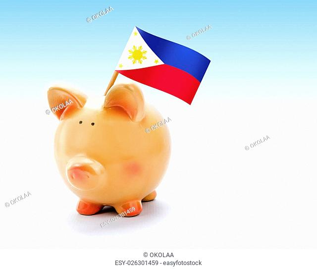 Piggy bank with national flag of Philippines