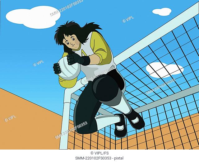 Low angle view of a goalkeeper