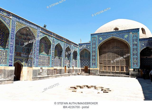 Inner courtyard with prayer hall, Safi-ad-Din Ardabili Mausoleum, Ardabil, Iran