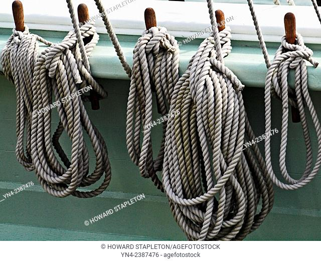 Ropes on an old sailing ship wrapped around belaying pins