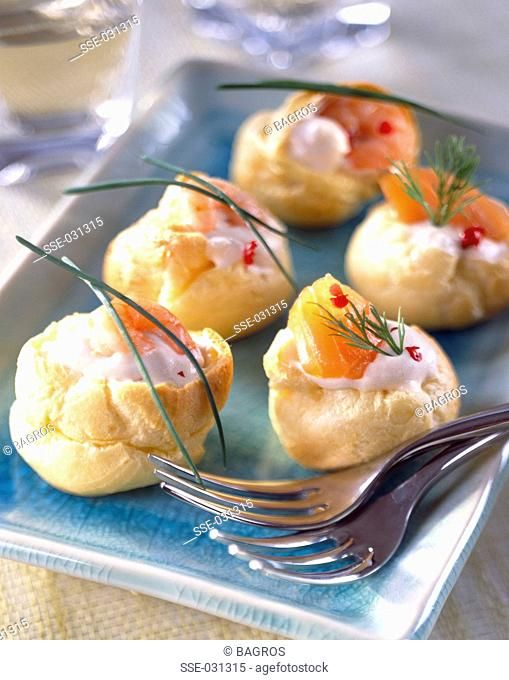Assorted mini lobster bisque chou pastry puffs
