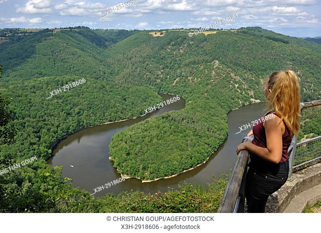 young girl admiring the Queuille's meander (Meandre de Queuille) of the Sioule River from the ''Paradis'' viewpoint, Puy-de-Dome department