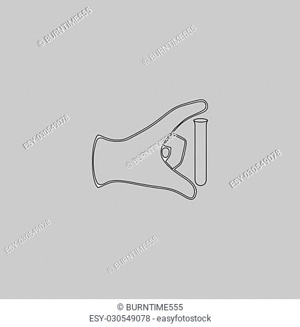 experiment Simple line vector button. Thin line illustration icon. White outline symbol on grey background