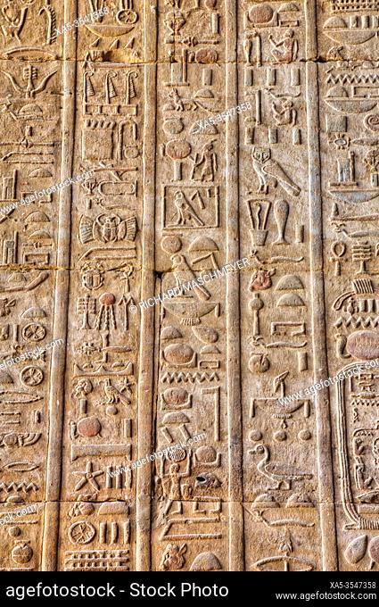 Hieroglyphs, Bas Reliefs, Sanctuary of Horus, Temple of Horus, Edfu, Egypt