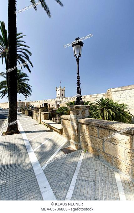 View on Puerta de la Tierra, Plaza de la Constitucion, Cadiz, Andalusia, Spain, Europe