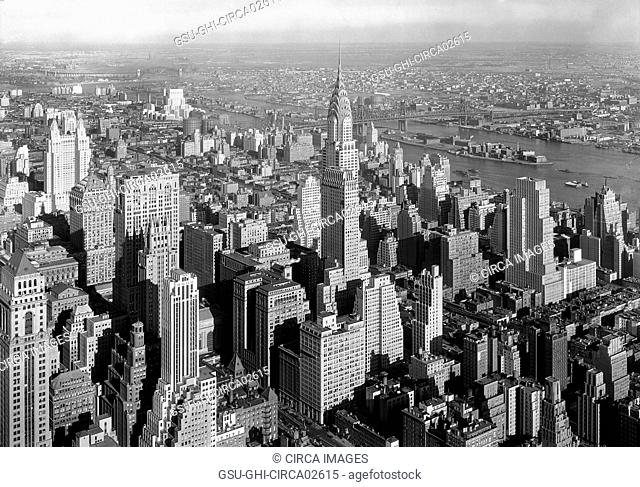 Chrysler Building and Cityscape, Queensborough Bridge in Background, New York City, New York, USA, by Samuel H. Gottscho, January 1932