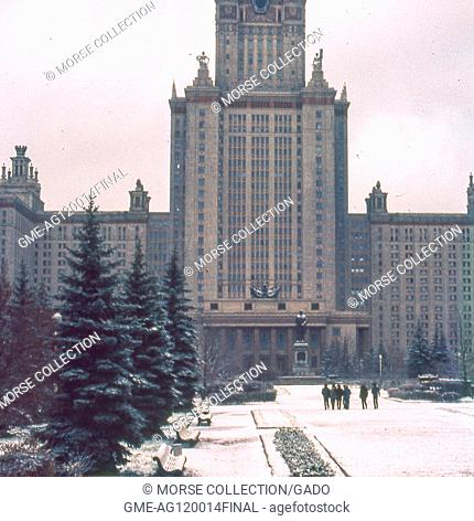 Snow-covered view of the Main Building of Moscow State University, on the Sparrow Hills campus outside Moscow, Soviet Russia, USSR, November, 1973