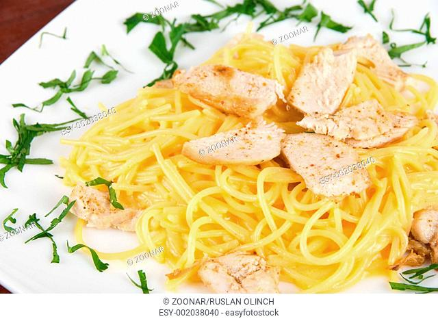 Pasta with chicken meat