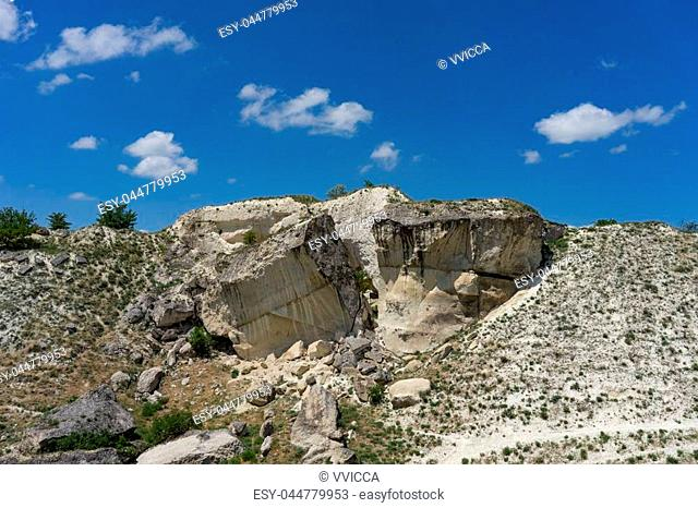 Landscape with a White rock in the Crimea against the blue sky