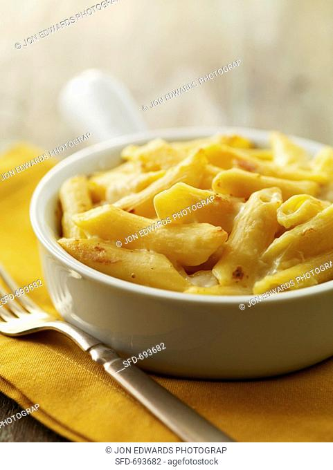 Baked Macaroni and Cheese in an Individual Dish, Fork