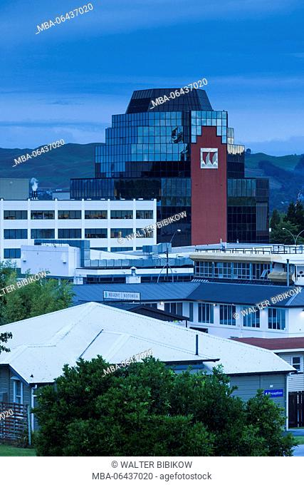 New Zealand, North Island, Rotorua, elevated town view