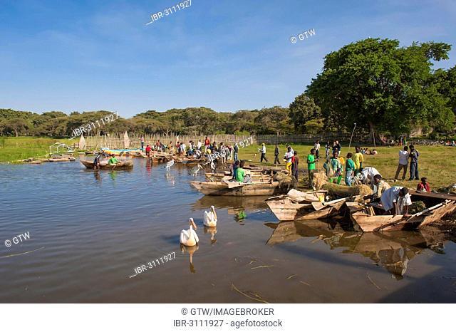 Boats at the fishing harbor, Awasa, Ethiopia