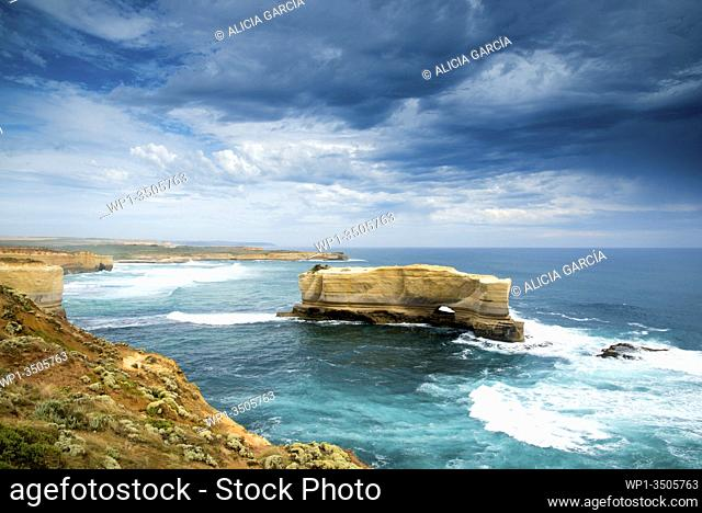 stormy day at the Bakers Oven with waves. 12 Apostles, Australia