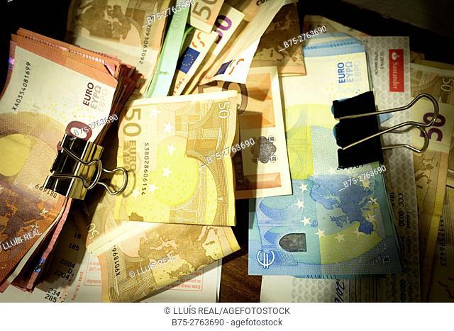 Close-up of Euro bills