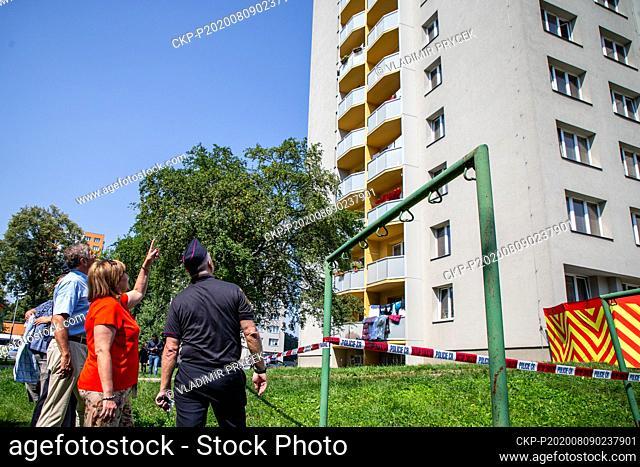 L-R Moravia-Silesia Region Governor Ivo Vondrak, Finance Minister Alena Schillerova and Regional Fire Corps director Vladimir Vlcek visit place of arson attack...