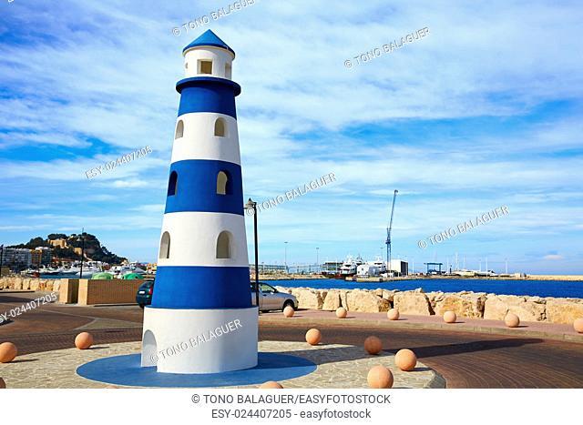 Denia Lighthouse monument in Mediterranean sea of Alicante Spain