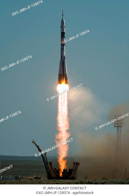 The Soyuz TMA-04M rocket launches from the Baikonur Cosmodrome in Kazakhstan on Tuesday, May 15, 2012 carrying Expedition 31 Soyuz Commander Gennady Padalka