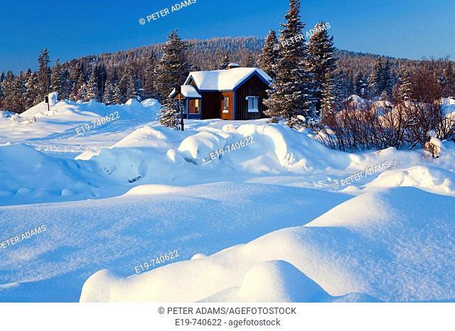 House in snow. Kiruna, Northern Sweden