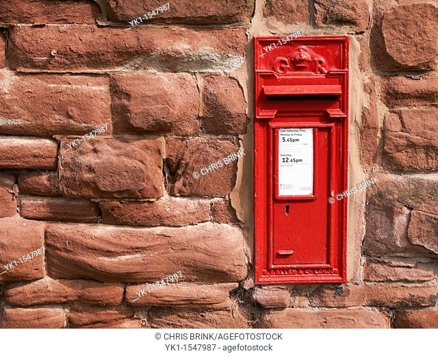 Build in mailbox in sandstone wall in Cheshire UK