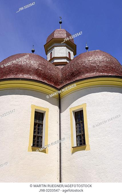 Close up of St. Bartholomew's church (St. Bartholomä) on lake Königsee. Königssee, Berchtesgaden, Berchtesgadener Land, Berchtesgaden National Park
