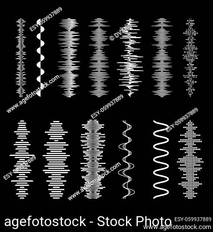 Sound Waves Set on Black Backdrop. Playing Song Visualization, Radiofrequency Lines, and Sounds Amplitudes. Can be Used for Music Clubs Projects