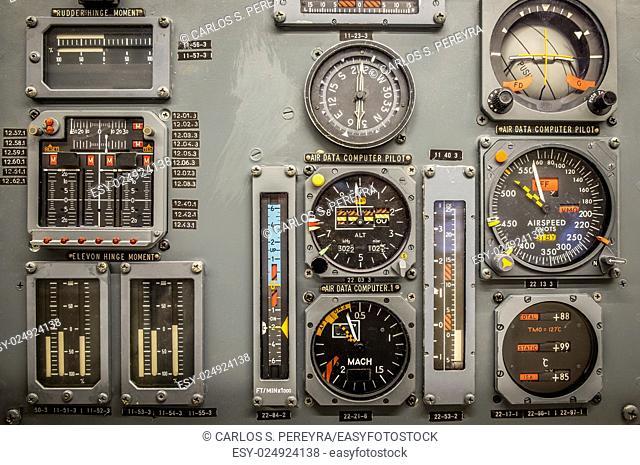 Vintage airplane panel controls detail