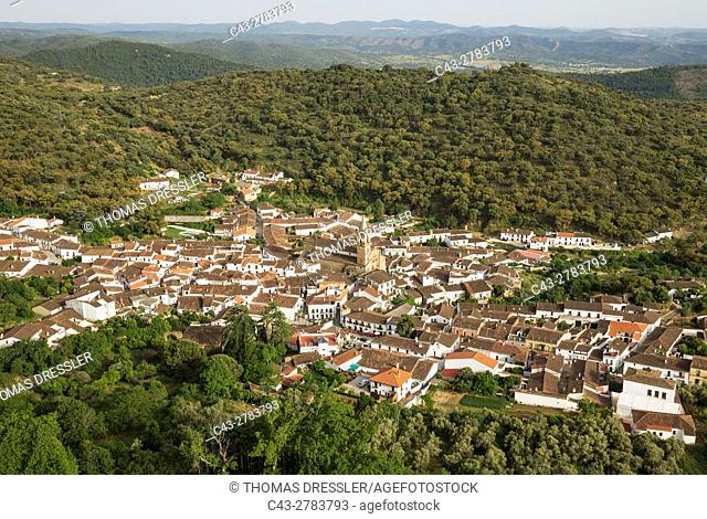 The village of Alajar in the Sierra de Aracena which is part of the vast Sierra Morena mountain range. Huelva province, Andalusia, Spain