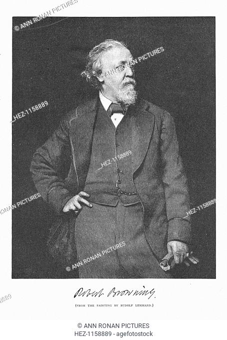 Robert Browning, English poet and dramatist, 1882. Born in Camberwell, London, Browning (1812-1889) published his first poem Pauline in 1833 and achieved his...