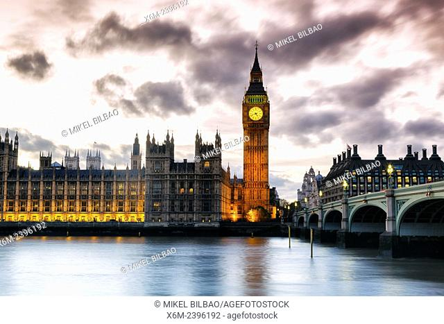 Big Ben and Houses of Parliament at dusk. London, England, United kingdom, Europe