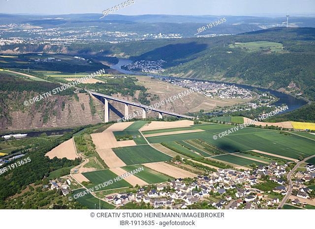 Aerial view, Moseltalbruecke A61, a highway bridge between Dieblich and Winningen, Rhineland-Palatinate, Germany, Europe