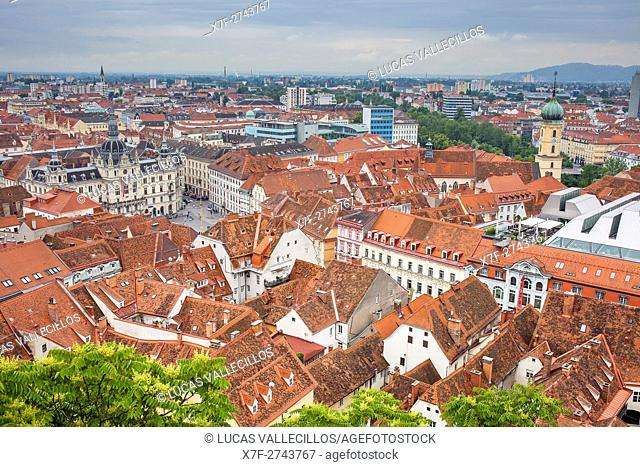 Aerial view, at left City Hall on Hauptplatz, at right Franciscan Church, Graz, Austria