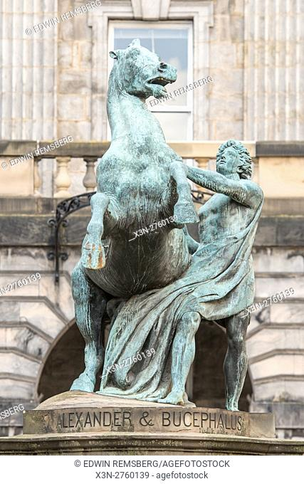 UK, Scotland, Edinburgh - Statue of Alexander & Bucephalus outside of St. Giles' Cathedral, also known as the High Kirk of Edinburgh