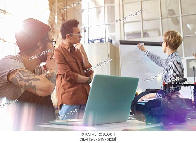 Designers meeting, brainstorming at whiteboard in office