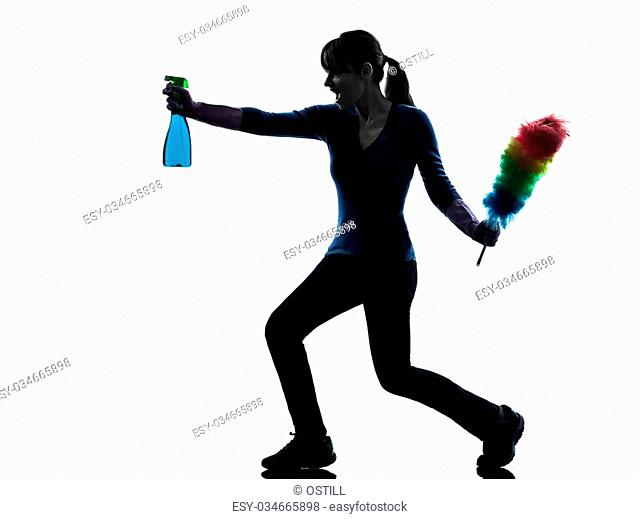 one caucasian woman maid dust cleaning in silhouette studio isolated on white background