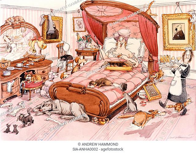 Maid bringing breakfast to women which lying in bed in room full of animals