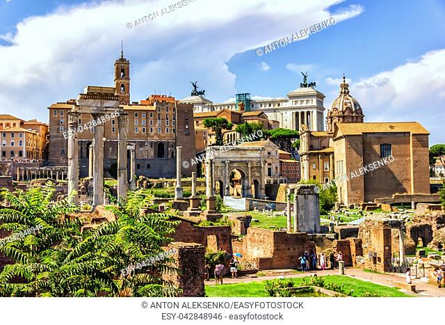 Roma Forum ruins, view on: the House of the Vestal Virgins, the Temple of Vesta, the Temple of Castor and Pollux,