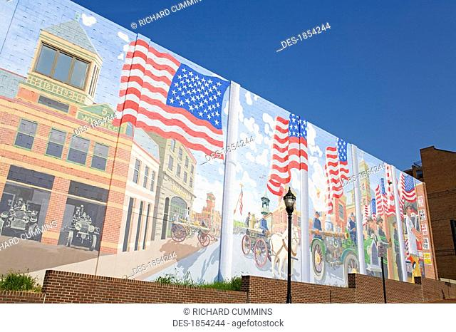 Mural on Fire Station 1, Wilmington, Delaware, USA