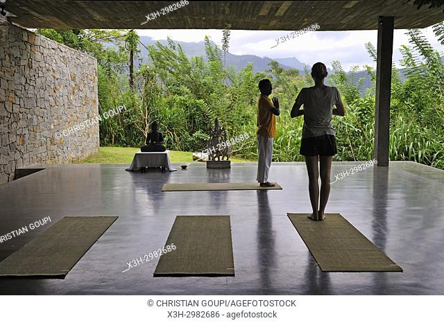 yoga class at Santani Wellness Resort, Arantenna Estate, . Werapitiya, Kandy, Sri Lanka, Indian subcontinent, South Asia